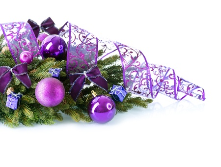 Christmas and New Year Baubles and Decorations isolated on White Stock Photo - 16825523