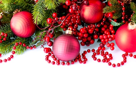 Christmas and New Year Baubles and Decorations isolated on White photo