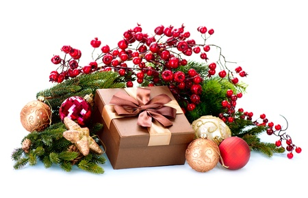 Christmas Decoration and Gift Box Isolated on White photo