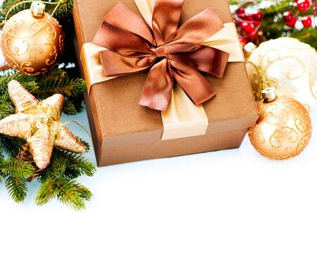 Christmas Decoration and Gift Boxes Isolated on White Background Stock Photo - 16825552