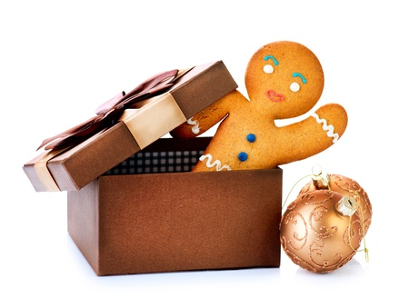Gingerbread Man in Gift Box  Christmas Holidays photo
