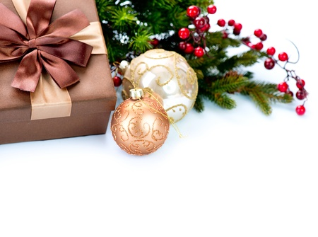 Christmas Decoration and Gift Box Isolated on White  Stock Photo - 16825528