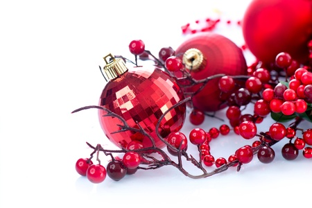 Christmas and New Year Baubles and Decorations isolated on White  Stock Photo