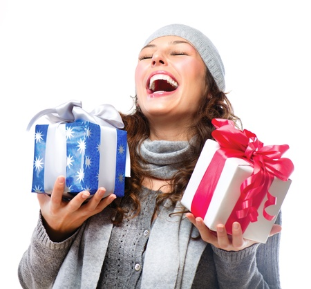 x mass: Happy Young Woman With Christmas Gifts  Gift Box