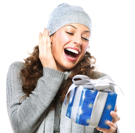 x mass: Happy Young Woman With Christmas Gift Box