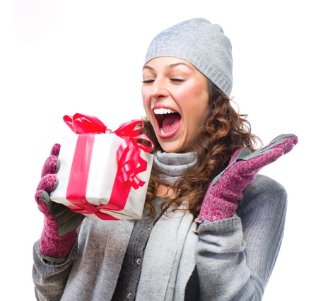 open present: Happy Young Woman With Christmas Gift Box Stock Photo