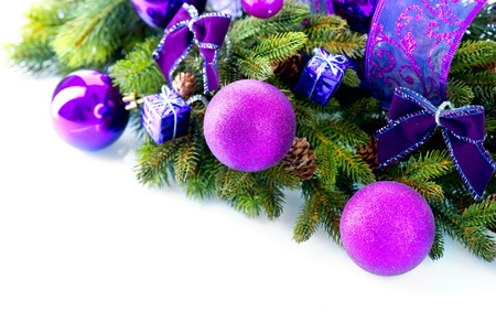 christmas tree purple: Christmas and New Year Baubles and Decorations isolated on White  Stock Photo