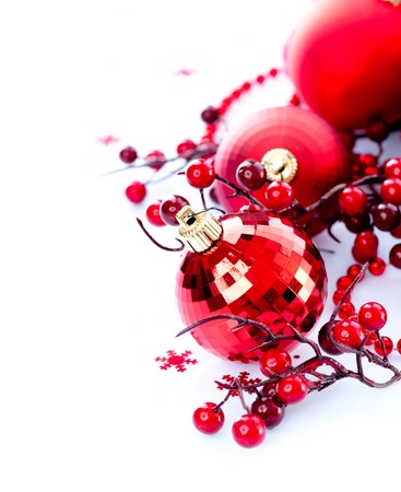 holiday: Christmas and New Year Baubles and Decorations Stock Photo