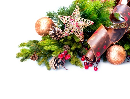 Christmas Decoration  Holiday Decorations Isolated on White  Stock Photo - 16825547