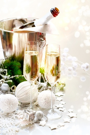 champagne flute: New Year Celebration  Two Champagne Glasses