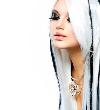 false eyelash: Beauty Fashion Girl black and white style  Long White Hair