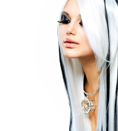 pesta�as postizas: Moda y Belleza Chica en blanco y negro estilo de pelo largo blanco