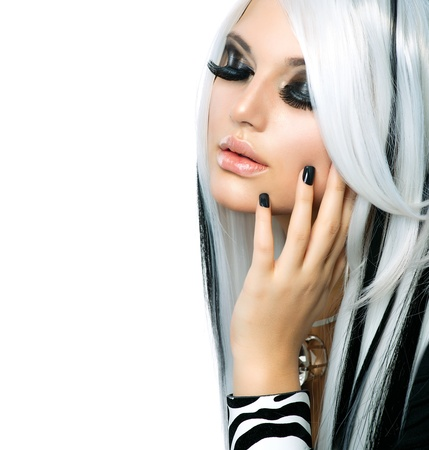 Beauty Fashion Girl black and white style  Long White Hair  photo