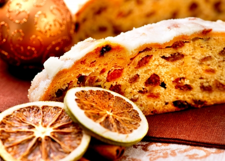 Christmas Stollen  Traditional Sweet Fruit Loaf with Icing Sugar  photo