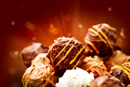 chocolate truffle: Assorted Chocolate Candies  Sweets  Candy Border Design  Stock Photo
