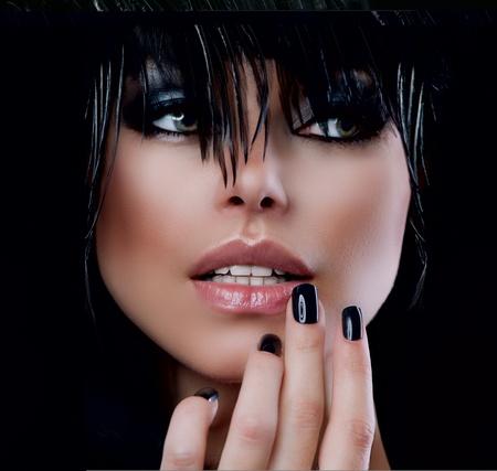 labios sexy: Fashion Art Retrato De La Mujer Hermosa Chica Style Vogue