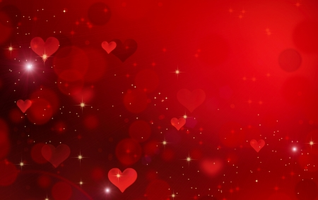 feb: Valentine Hearts  Abstract Red Background