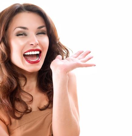 donna entusiasta: Bellezza Donna sorpreso isolato su sfondo bianco Archivio Fotografico