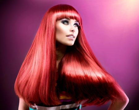 Healthy Straight Long Red Hair  Fashion Beauty Model  photo