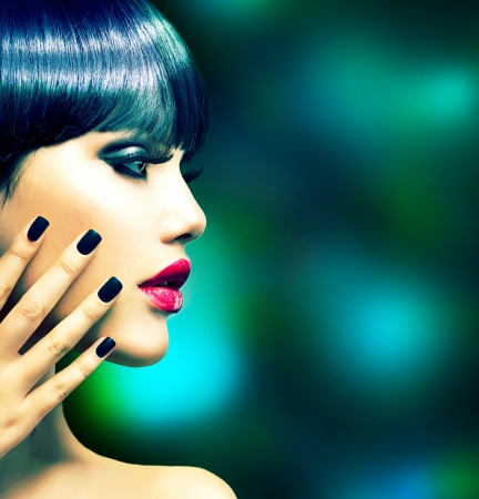 nails manicure: Fashion Woman Profile Portrait  Vogue Style Model