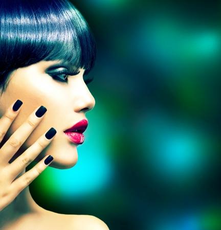 red nails: Fashion Woman Profile Portrait  Vogue Style Model