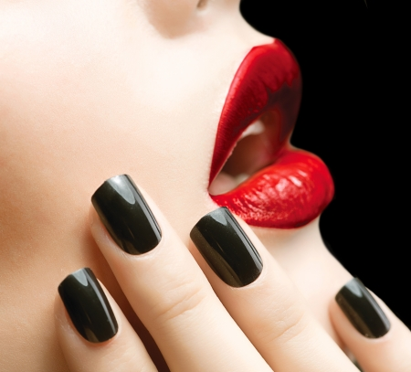 Makeup and Manicure  Black Nails and Red Lips Stock Photo - 17535782