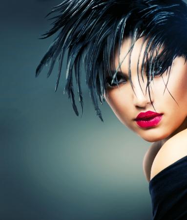 cabello negro: Fashion Art Retrato De La Mujer Hermosa Chica Style Vogue