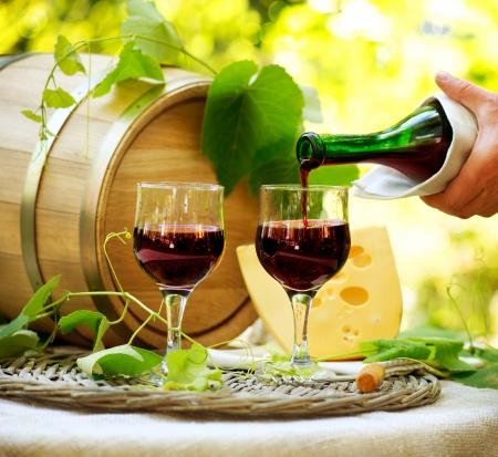 레드 와인과 치즈 로맨틱 점심 옥외