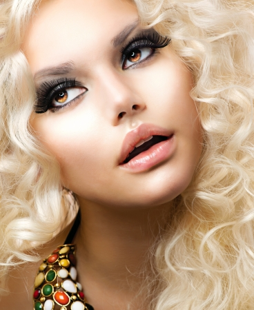lipgloss: Fashion Girl With Healthy Long Curly Hair  Beauty Blonde Woman