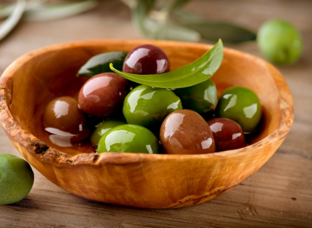 greek food: Olives and Olive Oil  Stock Photo
