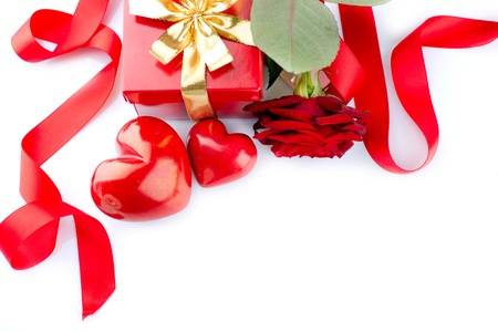 Valentines Hearts, Rose Flower and Gift Box isolated on white Stock Photo - 17598323