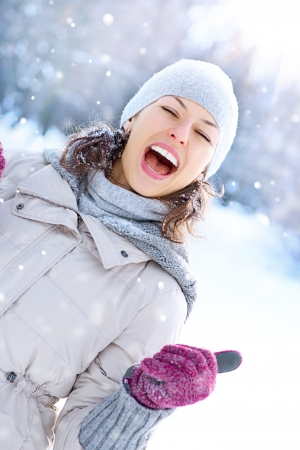 winter woman: Winter Woman Outdoor  Happy Laughing Girl Having Fun  Stock Photo