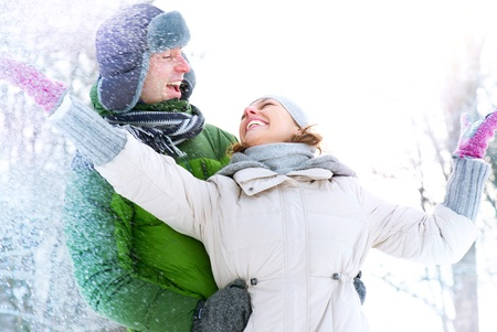 Happy Couple Having Fun Outdoors  Snow  Winter Vacation Stock Photo - 17621365