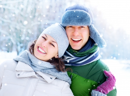 Happy Couple Having Fun Outdoors  Snow  Winter Vacation  Stock Photo - 17621368