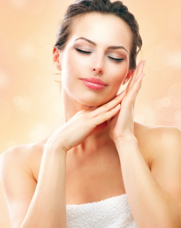 Spa Woman  Beautiful Girl After Bath Touching Her Face Stock Photo - 17771872