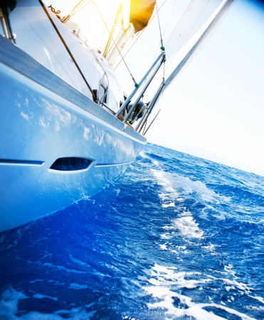 navigating: Yacht  Sailing  Yachting  Tourism  Luxury Lifestyle Stock Photo