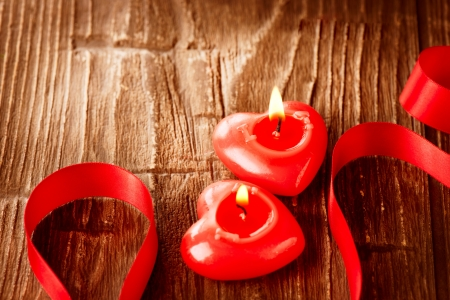 Valentines Hearts Candles over Wood  Valentine s Day Stock Photo - 17771919