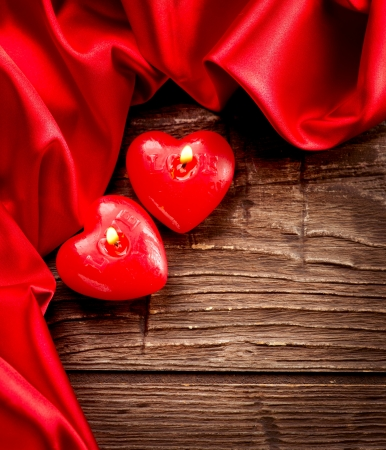 Valentines Hearts Candles over Wood  Valentine s Day Stock Photo - 17771914