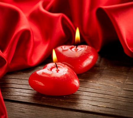 Valentines Hearts Candles over Wood  Valentine s Day Stock Photo - 17771925