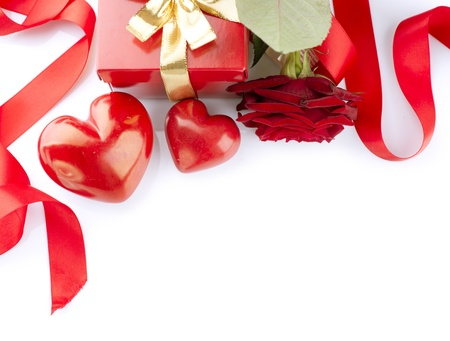 Valentines Hearts, Rose Flower and Gift Box isolated on white  photo