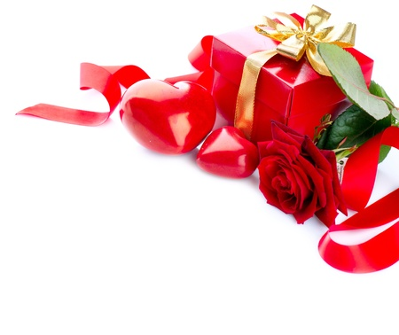 Valentines Hearts, Rose Flower and Gift Box isolated on white Stock Photo - 17771880