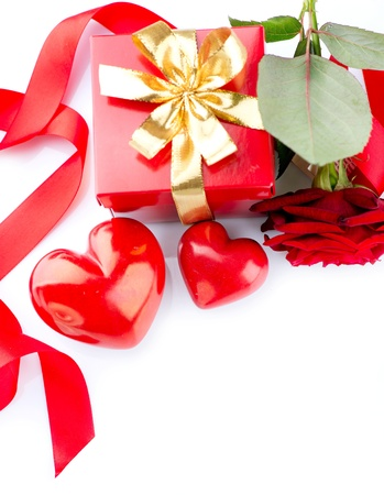 st valentine day: Valentines Hearts, Rose Flower and Gift Box isolated on white