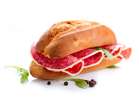 italian bread: Sandwich with Salami isolated on a White Background