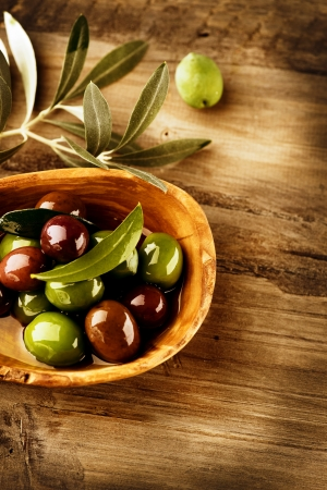 rustic food: Olives and Olive Oil  Stock Photo