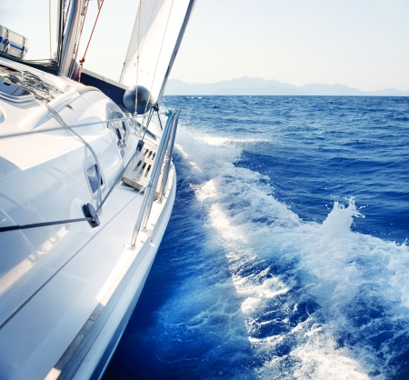 sail boat: Yacht  Sailing  Yachting  Tourism  Luxury Lifestyle Stock Photo