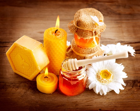 wesp: Honey Spa Gezondheidszorg Handgemaakte Honing Zeep Natuurlijke Behandelingen Stockfoto