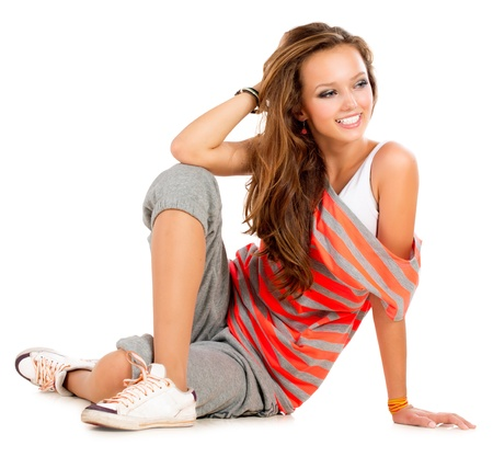 sporty: Teenage Girl on a White Background  Teenager  Stock Photo