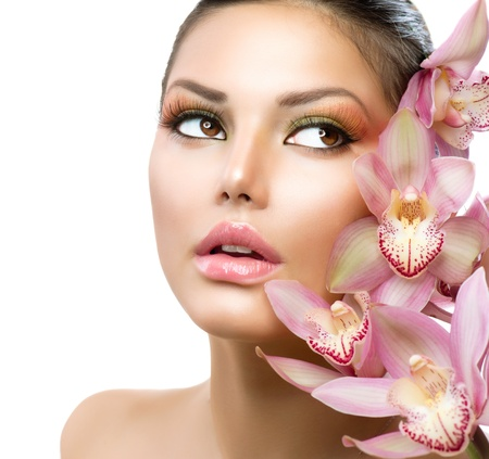 Beautiful Girl With Orchid Flowers  Beauty Model Woman Face  photo