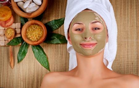 medical mask: Mud Mask Spa Woman in Spa Salon