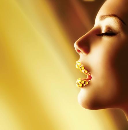 gold facial: Luxury Golden Makeup  Beautiful Professional Holiday Make-up